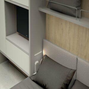 Letto a scomparsa Francese e Matrimoniale 3 posti letto con divano contenitore New C05 Molteni