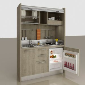 Comp. D Monoblocco cucina a scomparsa per mini appartamenti, alberghi, monolocali e case vacanza al mare e in montagna