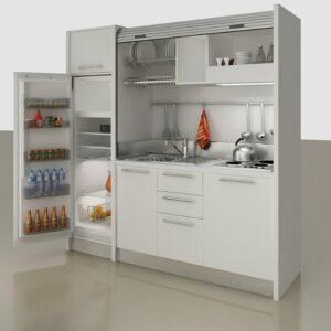 Comp. F Monoblocco cucina a scomparsa per mini appartamenti, alberghi, monolocali e case vacanza al mare e in montagna