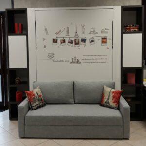 OUTLET Letto a scomparsa Francese e Matrimoniale 3 posti letto con divano contenitore New C05 Molteni