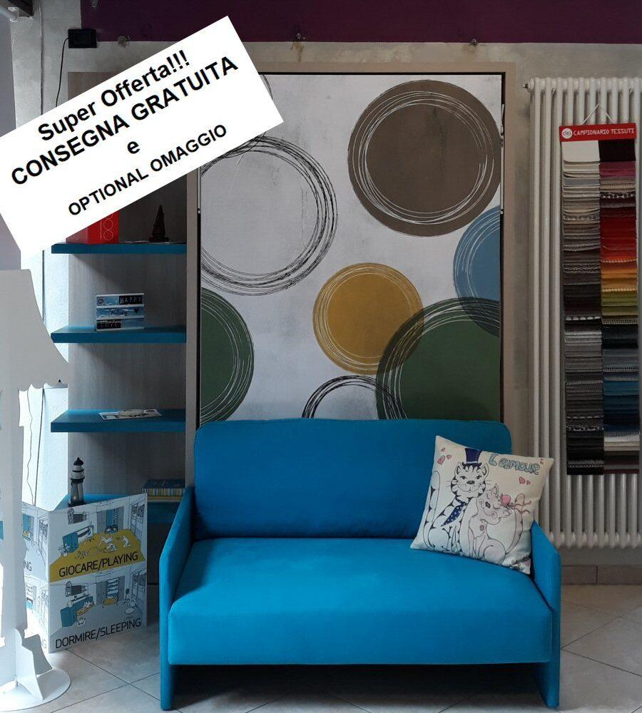 OUTLET Letto a scomparsa con divano ALTEA SOFA' 120 Clei PRONTA CONSEGNA OMAGGIO