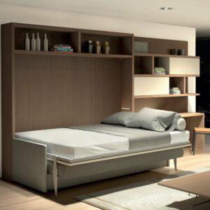 Letto a scomparsa orizzontale con divano contenitore C05 Relax Molteni